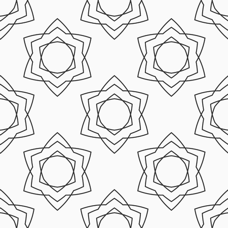Abstract seamless pattern of six-pointed stars made of triangular shapes. Fashion design. Linear style. Vector background.