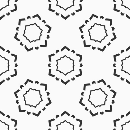 Abstract seamless pattern of six-pointed stars made of triangular shapes. Fashion flat design. Symmetric geometric shapes. Vector background. Illustration