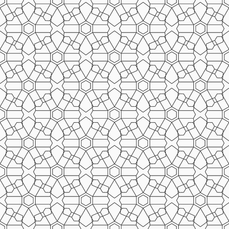 Abstract seamless pattern of intersecting geometric shapes. Geometric lattice. Linear style. Vector background.