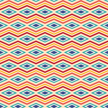 Seamless pattern of rhombuses and zigzag lines. Ethnic pattern. Repeating geometric ornament. Herringbone pattern. Vector color background.