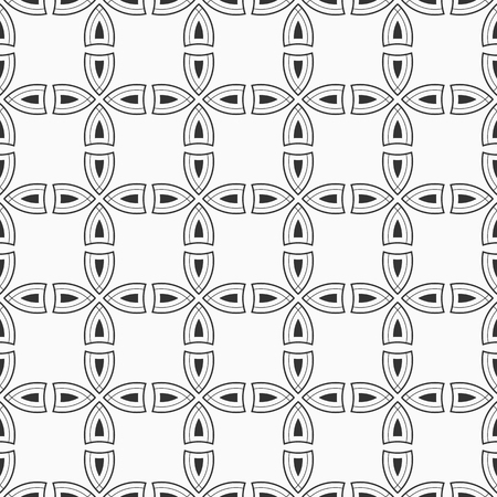 Abstract seamless pattern. Repeating geometric ornament of crosses. Monochrome stylish texture. For cloth design, covers, wallpaper, wrapping. Vector background. Archivio Fotografico - 124635964