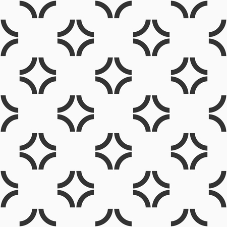 Abstract seamless pattern of curved lines. Group of arcs. Repeating geometric ornament. Simple graphic print. Vector monochrome background. Illustration