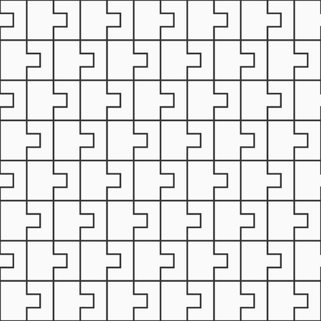 Abstract seamless pattern of interlocking shapes. Modern stylish texture. Connecting geometric tiles. Vector monochrome background.