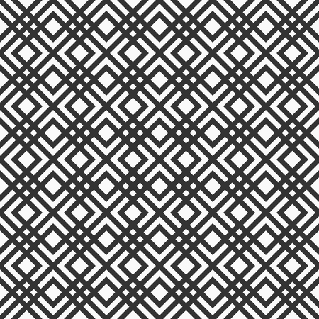 Abstract geometric seamless pattern. Intercecting rhombuses. Crosses or pluses. Stylish repeating texture. Vector monochrome background. Archivio Fotografico - 124381009