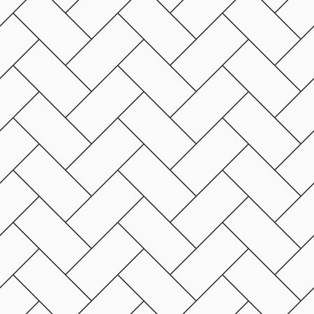 Herringbone parquet seamless pattern. Outline vintage wooden floor. Repeating geometric tiles. Monochrome vector background. 矢量图片