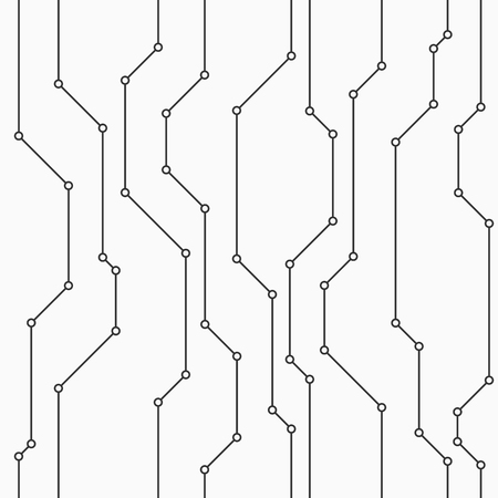 Abstract vector seamless pattern with lines. Small filled circles in nodes. Background in high tech style. Connections. Technology. Joint lines. Monochrome colors.