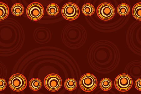 Seamless horizontal border pattern with suns, smooth round shapes, circles. Space for text. Australian art. Aboriginal painting style. Stylized suns. Vector color background.