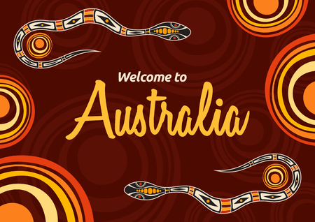 Abstract colorful flyer, poster, banner, placard, brochure design template with snakes and suns. Aboriginal style. Ethnic style. Australian style. Vector abstract color illustration.
