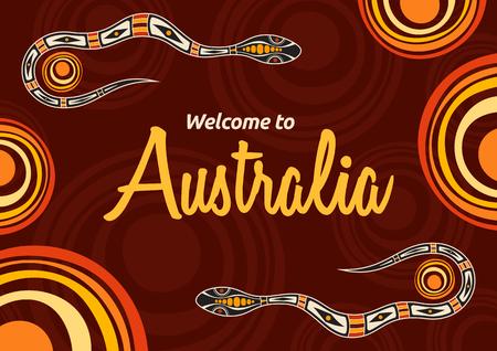 Flyer coloré abstrait, affiche, bannière, pancarte, modèle de conception de brochure avec des serpents et des soleils. Style aborigène. Style ethnique. A la manière australienne. Illustration de couleur abstraite de vecteur.