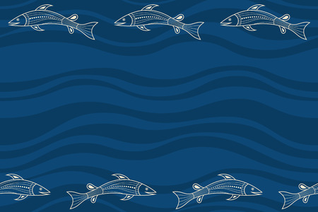 Seamless horizontal border pattern with fishes and abstract smooth waves on background. Space for text. Australian art. Aboriginal painting style. Stylized fishes. Vector color background. Vectores