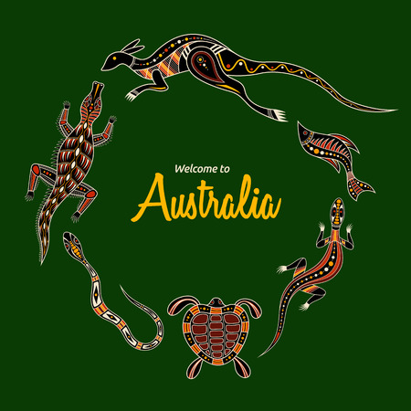 Animals of Australia. Kangaroo, llizard, crocodile, turtle, snake, fish. Aboriginal art style. Vector color illustration isolated on green background. Template for your design. Graphic print.