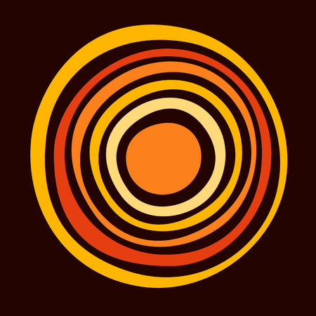 Stylized sun. Australian art. Aboriginal painting style. Smooth round shapes, circles isolated on dark background. Doodle sketch style. Minimalistic graphic print. Vector color illustration.