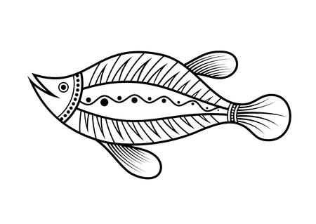 Pescado. Estilo de arte aborigen. Tatoo. Logotipo en blanco y negro. Ilustración monocromática de vector aislado sobre fondo blanco.