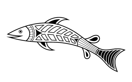 Fish. Aboriginal art style. Tatoo. Black and white logo. Vector monochrome illustration isolated on white background. Banco de Imagens - 122311161