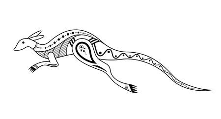 Kangaroo. Aboriginal art style. Tatoo. Black and white logo. Vector monochrome illustration isolated on white background. Logo