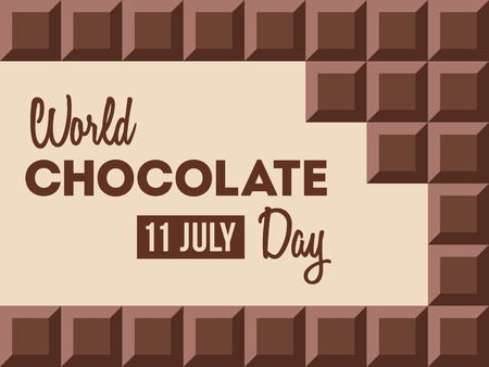 World Chocolate Day.11 July. Ð¡hocolate bars with text inside. Design for poster, banner, greeting card. Vector color illustration.