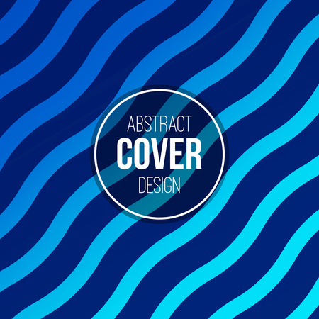 Abstract creative concept layout template. Trendy cover, card, flyer, poster, brochure design. Modern abstract cover from bright blue wavy lines, stripes. Vector geometric color background.