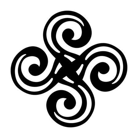 Abstract symmetrical sign, icon, isolated on white background. Ornate baroque decoration. Tattoo design. Stylized swastika. Template for t-shirt, apparel, card, poster. Vector monochrome illustration. Ilustrace