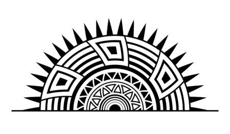 Abstract ornament. Isolated ethnic symbol. Stylized rising sun symbol. Geometric elements. Tribal ethnic motif. Stencil tattoo and prints. Round vector pattern. Decorative design element.
