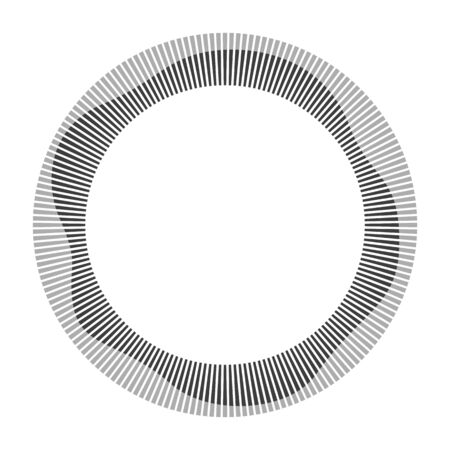 Circular frame. Round shape. Radial black concentric particles. Gray ring of short thin rays with wavy silhouette isolated white background. Sound wave. Sun ray. Vector illustration.