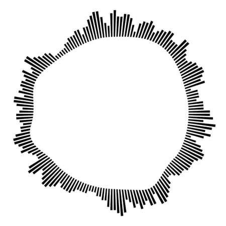 Black circular frame on white background. Round shape. Radial black concentric particles. Black ring of short thin rays. Sound wave. Sun ray or star burst element. Vector monochrome illustration.