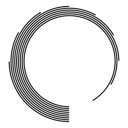 Technology shape. Lines in abstract form. Abstract geometric Logo. Infographic design elements. Spiral. Striped border frame. Vector monochrome illustration.