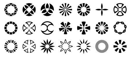 Set of abstract geometric circular shapes. Collection of symbols for your design. Isolated on white background. Design elements. Vector monochrome illustration. Ilustrace
