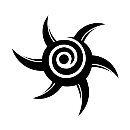 Abstract geometric ethnic symbol, isolated on white background, spiral. Geometric logo, sign. Tattoo design in the form of the sun. Vector monochrome illustration.