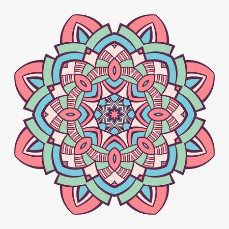 Mandala. Creative circular ornament. Round symmetrical pattern. Vintage decorative elements. Ethnic oriental pattern. Ottoman motifs. Tattoo design. Vector colorful illustration.