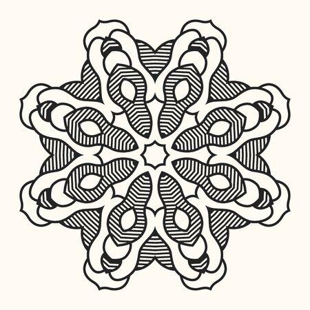 Mandala. Creative circular ornament. Round symmetrical pattern. Vintage decorative elements. Ethnic oriental pattern. Ottoman motifs. Anti-stress coloring page. Tattoo design. Vector illustration. Ilustrace