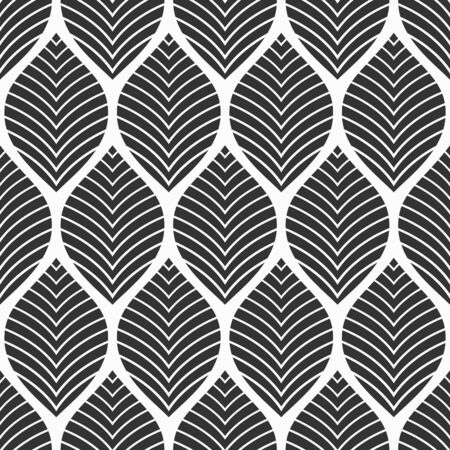 Seamless floral pattern. Geometric texture made of leaves. Art Deco pattern. Stylish texture. Vector monochrome background. Ilustrace