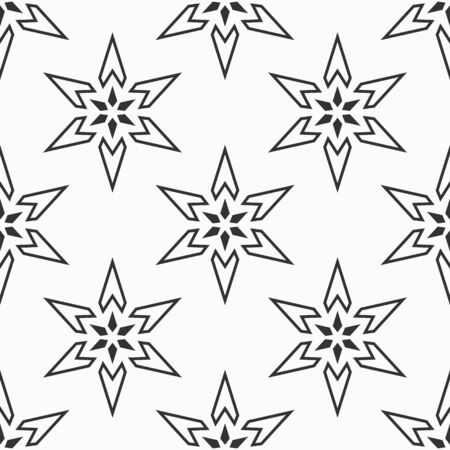 Abstractl six pointed stars seamless pattern. Repeating geometric ornament. Stars shapes. Vector monochrome background.