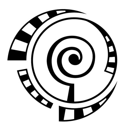 Abstract geometric symbol, isolated on white background. Spiral, round  shape. Spiral element with dashed, segmented lines. Linear logo and spiritual design. Vector monochrome illustration.