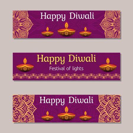 Horizontal banner templates for Indian Festival Of Happy Diwali Celebration. Creative website hader o banner Design. Vector color illustration.