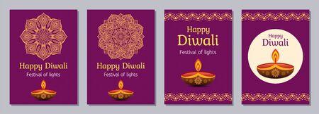 Set of flyers, posters, banners, placards, brochure design templates for Diwali celebration day, Happy Diwali festival. Vertical cards with mandalas, letterings and festive oil lamps. Vector color backgrounds. Illusztráció