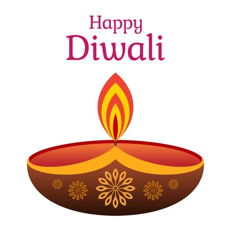 Decorative diwali lamp, isolated on white background. Festival of lights. Burning bowl oil lamp. Diwali celebration day. Color icon. Vector color illustration.  イラスト・ベクター素材