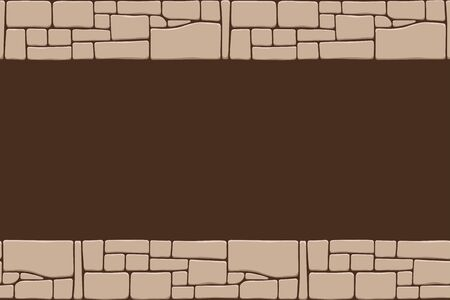 Seamless stones border, stone wall texture, isolated on brown background. Brick texture backgrounds, stones pattern.