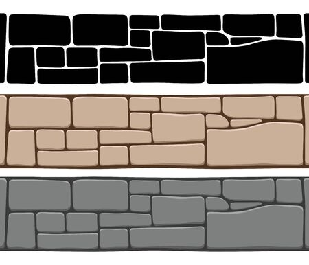Set of 3 kinds of seamless stone wall textures, isolated on white background. Brick texture backgrounds, stones patterns.