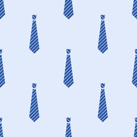 Seamless neck ties pattern. Striped blue mens ties. Flat style design. Vector color background.
