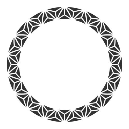 Abstract round meander, circular geometric ornament, frame of triangles. Decorative pattern isolated on white background. Place for text. Vector monochrome illustration for invitations, greeting cards.