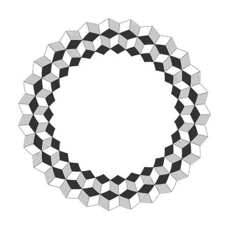 Abstract round meander, circular geometric ornament, striped frame. Decorative pattern isolated on white background. Place for text. Vector monochrome illustration for invitations, greeting cards.