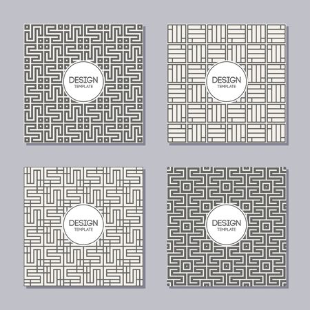 Set of 4 simple abstract frames and seamless patterns. Line badges. Applicable for Posters, Placards, Covers, Cards, Flyers and Banner Designs. Abstract geometry banners. Vector illustration.