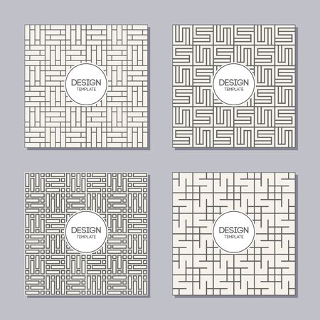Set of 4 creative covers. Abstract geometric seamless patterns. Applicable for Posters, Placards, Covers, Cards, Flyers and Banner Designs. Vector backgrounds. Modern design. Vector illustration. Ilustracja