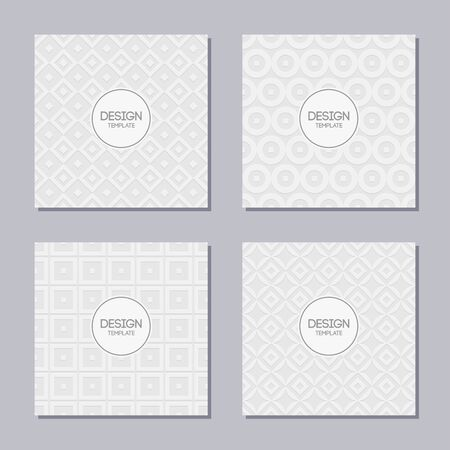 Set of 4 creative covers with abstract geometric pattern. Applicable for Posters, Placards, Covers, Flyers. Vector white and gray backgrounds. Volumetric patterns with shadow. Vector illustration.