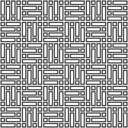 Abstract Korean or Chinese seamless pattern. Repeatimg geometric symmetric ornament. Bricks cladding floor. Mosaic motif. Modern stylish texture. Trellis. Vector monochrome tiled background.
