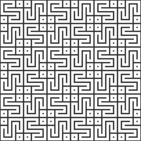 Abstract Korean or Chinese seamless pattern. Repeatimg geometric symmetric ornament. Modern stylish texture. Trellis. Symmetric lines lattice. Vector monochrome tiled ethnic background.