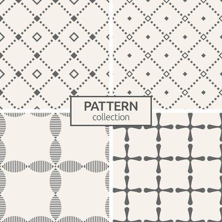 Satz von vier nahtlosen Mustern. Abstrakte geometrische modische Vektorhintergründe. Moderne, stilvolle Texturen aus sich wiederholenden Rauten, Rosse mit abgerundeten Ecken, stilisierte Blumen. Geometriemustergitter.