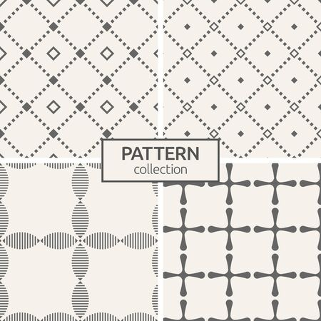 Set of four seamless patterns. Abstract geometric trendy vector backgrounds. Modern stylish textures of repeating rhombuses, сrosses with rounded corners, stylized flowers. Geometry pattern grid.