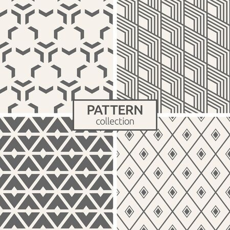 Set of four seamless patterns. Abstract geometric trendy vector backgrounds. Modern stylish textures of repeating slanted stripes, rhombuses, triangular elements. Minimalist simple trellis. 版權商用圖片 - 143101035