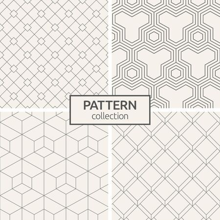 Set of four seamless patterns. Abstract geometric trendy vector backgrounds. Modern stylish textures of triangular elements, rhombuses. Minimalist simple trellis. Linear style. 向量圖像